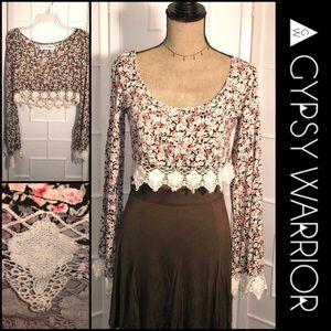 Gypsy Warrior floral Crop top crochet edging